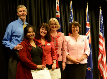 Left to Right: Secretary Duncan, Sutapa Mukund, Fiona Jeffries, Helen Andersen of the Fulbright Board, Minister Parata