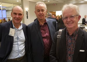 Members Claude Nobauer and Randy Felty with Mark Thompson.