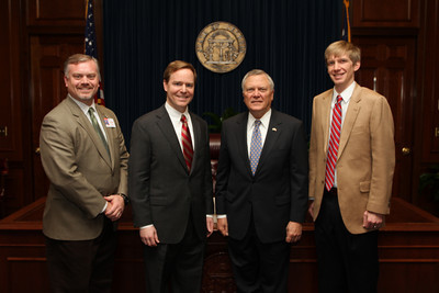 GTLA members Lloyd Bell and David Sawyer pose with Governor Nathan Deal and GTLA Grassroots Director Micah Gravley while volunteering at the Capitol for our newest initiative, Lawyer of the Day.
